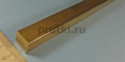 Квадрат латунный ЛС59-1, ширина 14 мм
